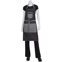 Chef Works Bronx Black Denim Bib Apron With Scoop Neck