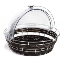 Bread Basket Polyrattan Round 400mm D/Brown W/Frame
