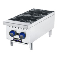 Gas Benchtop Open Burner Cook Top - 2 Burner LPG or NG 305mm