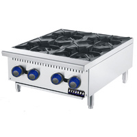 Gas Benchtop Open Burner Cook Top - 4 Burner LPG or NG 610mm