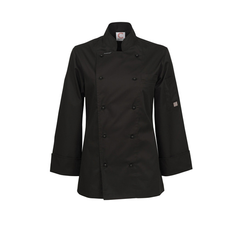 ChefsCraft Exec Lightweight Ladies Chef Jacket L/S Black [Size: 6]