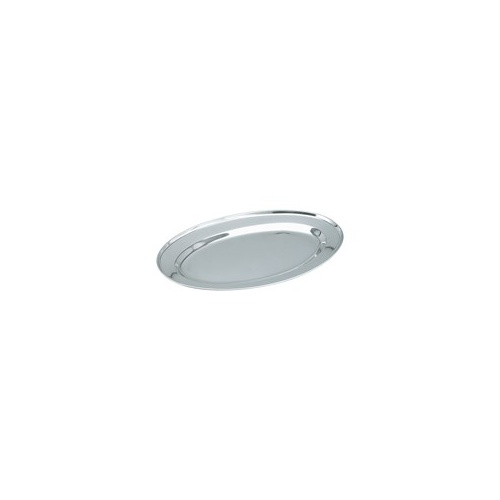 Platter-Oval - Stainless Steel 250mm Rolled Edge