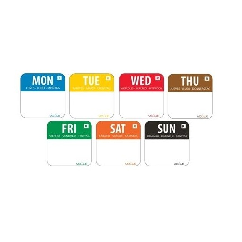 Removable Day of the Week Labels 25mm
